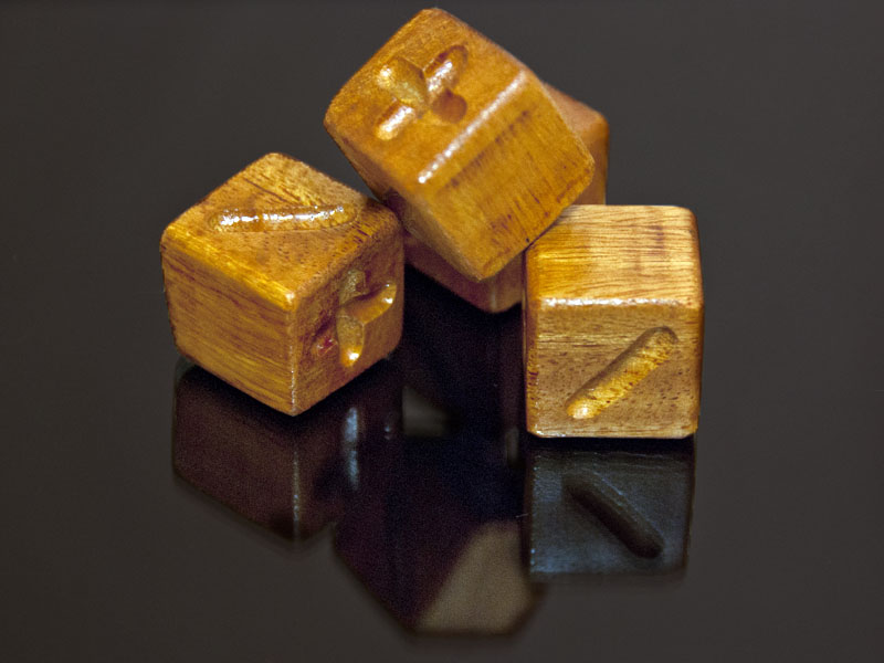 Bois'D Arc (Osage-Orange) Wooden Fate Dice