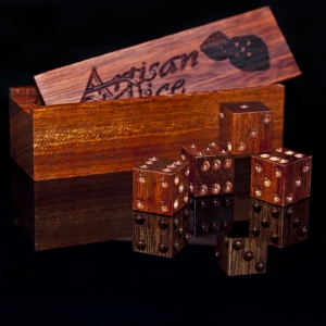 satine wood dice with matching box