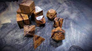 marblewood polyhedral dice